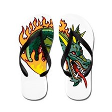 Fiery Green Dragon Tattoo Flip Flops