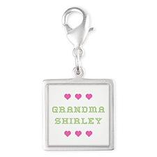 Grandma Shirley Silver Square Charm