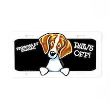 Beagle Paws Off Aluminum License Plate