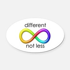 Different. Not Less. Oval Car Magnet