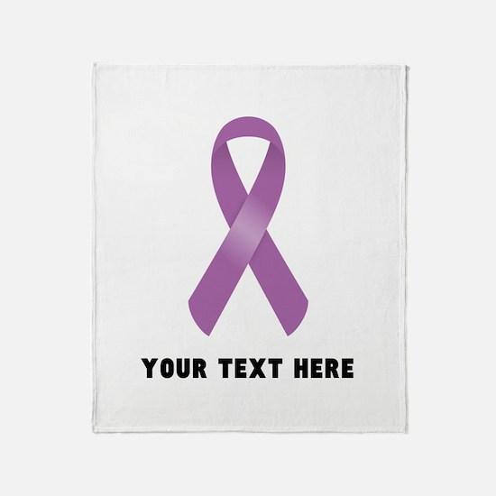 Purple Awareness Ribbon Customized Throw Blanket