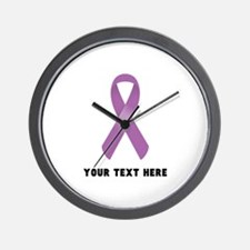 Purple Awareness Ribbon Customized Wall Clock