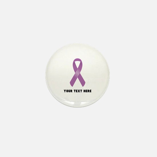 Purple Awareness Ribbon Cust Mini Button (10 pack)