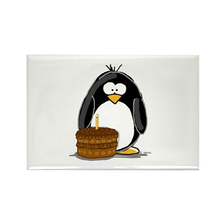 Chocolate Birthday Cake Pengu Rectangle Magnet (10