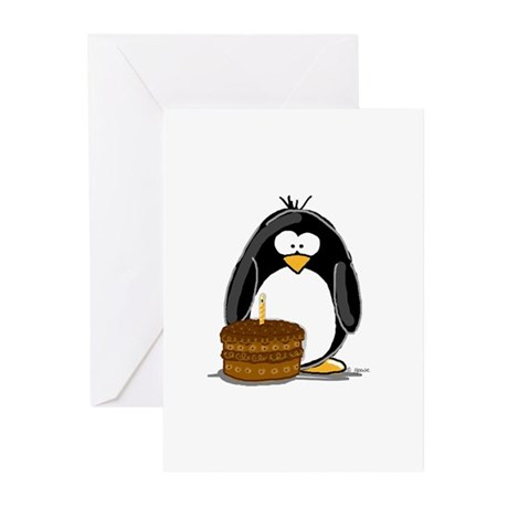 Chocolate Birthday Cake Pengu Greeting Cards (Pack