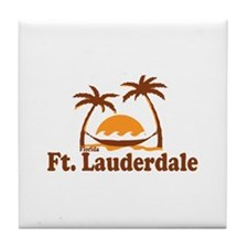 Fort Lauderdale - Palm Trees Design. Tile Coaster