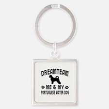 Portuguese Water Dog Designs Square Keychain