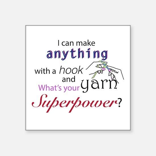 "Crochet Superhero Square Sticker 3"" x 3"""