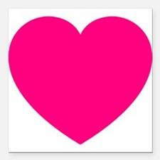 """Hot Pink Heart Square Car Magnet 3"""" x 3"""""""