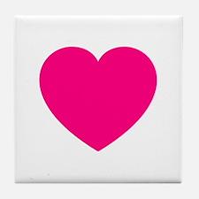 Hot Pink Heart Tile Coaster