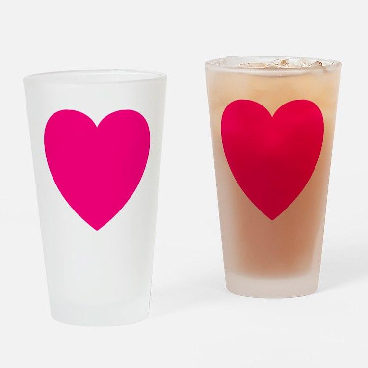 Hot Pink Heart Drinking Glass