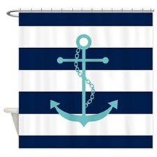 Teal Anchor on Blue Stripes Shower Curtain