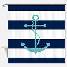 Teal Anchor on Blue Stripes Shower Curtain