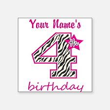 4th Birthday - Personalized Sticker