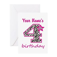 4th Birthday - Personalized Greeting Card