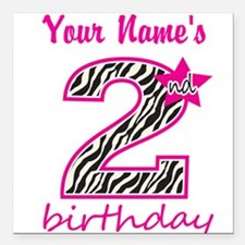 "2nd Birthday - Personalized Square Car Magnet 3"" x"