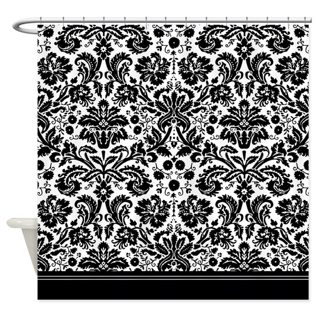 Black And White Damask Shower Curtain black white shower curtains
