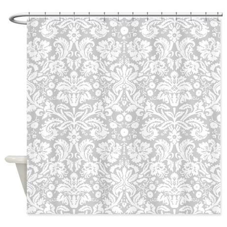 Silver Damask Shower Curtain By Inspirationzstore