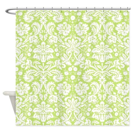 Lime Green Damask Shower Curtain By Inspirationzstore