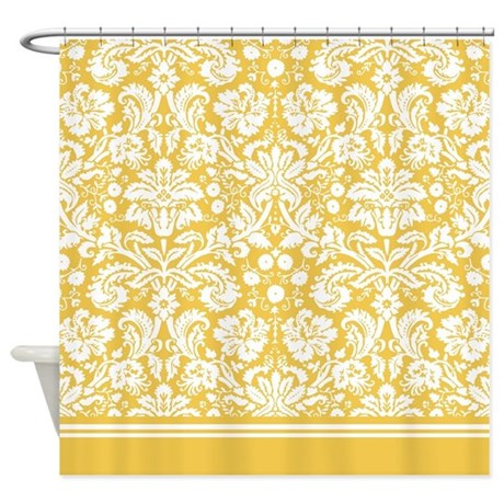 Yellow Damask Shower Curtain By InspirationzStore