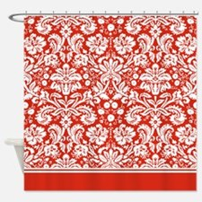 Red Damask shower curtain