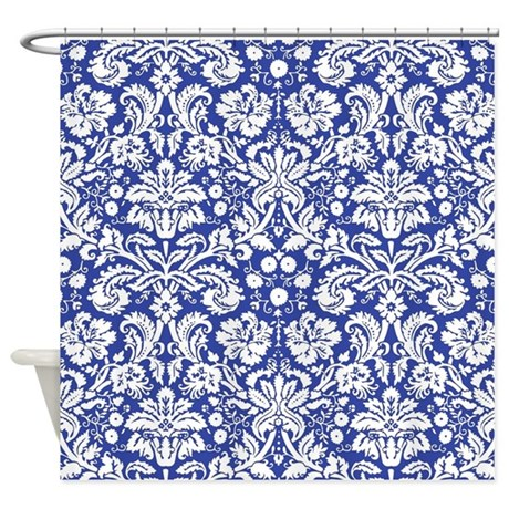 royal blue damask shower curtain by inspirationzstore