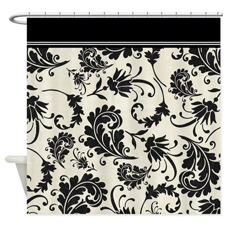 Black and white swirls damask shower curtain