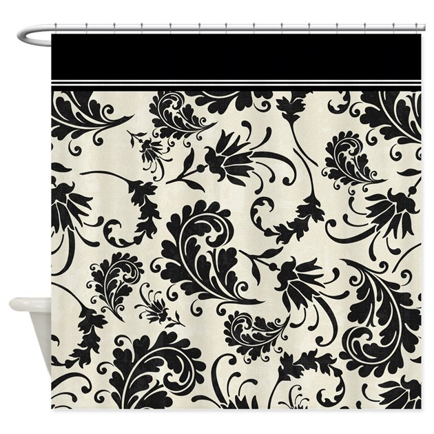 Black And White Swirls Damask Shower Curtain By