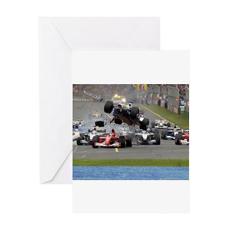 F1 Crash Greeting Card