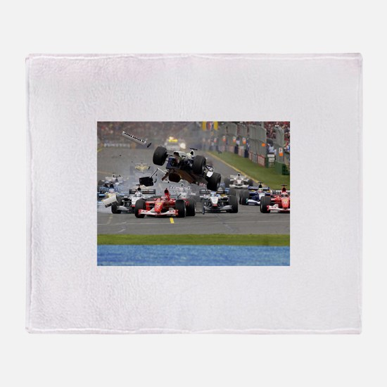 F1 Crash Throw Blanket
