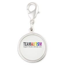 Team Autism (Rainbow) Silver Round Charm