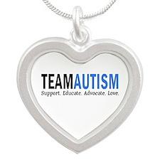 Team Autism (Blue) Silver Heart Necklace