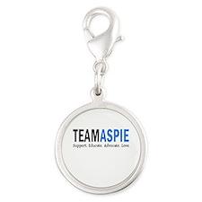 Team Aspie (Blue) Silver Round Charm