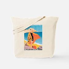 Plage de Calvi Retro Travel P Tote Bag