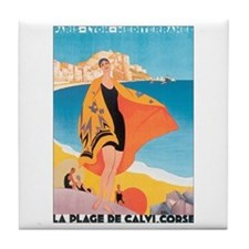 Plage de Calvi Retro Travel P Tile Coaster