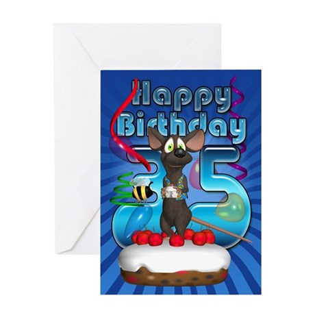 35th Birthday Card With Funky Mouse On Cake