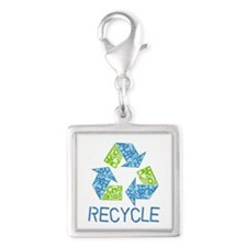 Recycle Silver Square Charm