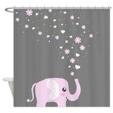 Cute elephant grey Shower Curtains