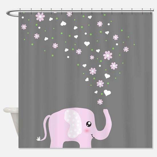 Cute elephant Gray Shower Curtain