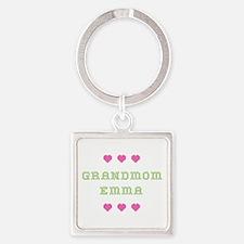 Grandmom Emma Square Keychain