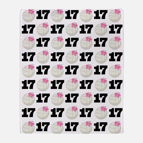 Cute Volleyball Player Number 17 Throw Blanket