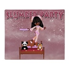 Slumber Party Throw Blanket With Cute Little Girl
