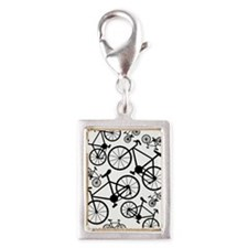Bicycles Big and Small Silver Portrait Charm