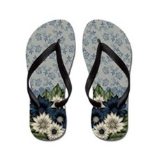 Pretty Lace And Floral Pattern Flip Flops