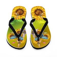 Butterfly And Sunflower Flip Flops