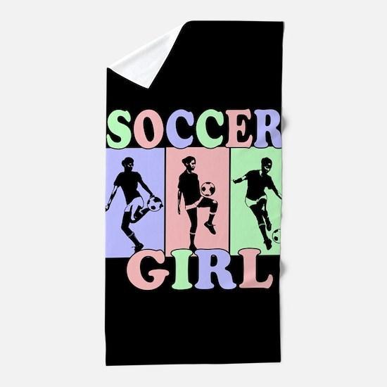 Cute Girls Soccer design Beach Towel