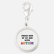 Proud Mom Of My Son With Autism Silver Round Charm