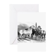 Antique drawing of Three Horses Greeting Card