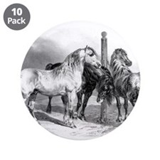 """Antique drawing of Three Horses 3.5"""" Button (10 pa"""