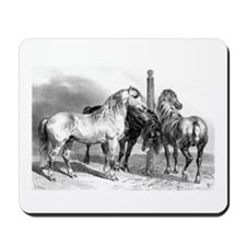 Antique drawing of Three Horses Mousepad